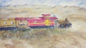 Santa Fe Railway watercolor