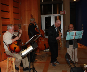 Jazz band playing at the book launch at the Albuquerque Art Museum