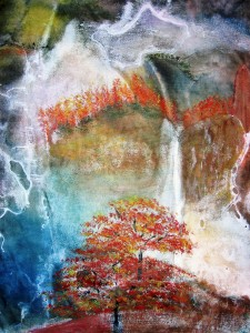 Waterfall in Mist Splash Ink Watercolor
