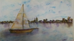 Boat on Hudson Watercolor