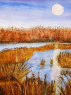 Moon Over Bosque watercolor