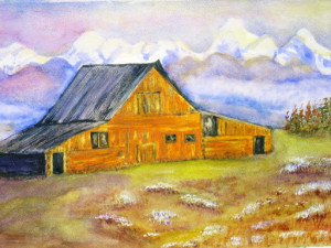 Farmhouse in Spring watercolor