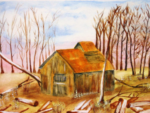 Shack in Woods watercolor