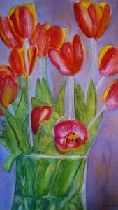 Tulips in Vase watercolor and acrylic
